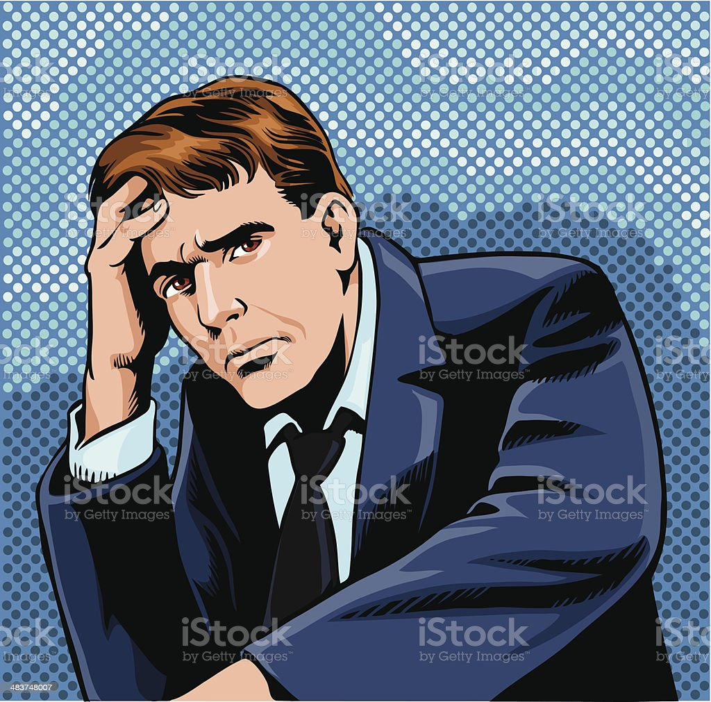 Worried Man vector art illustration