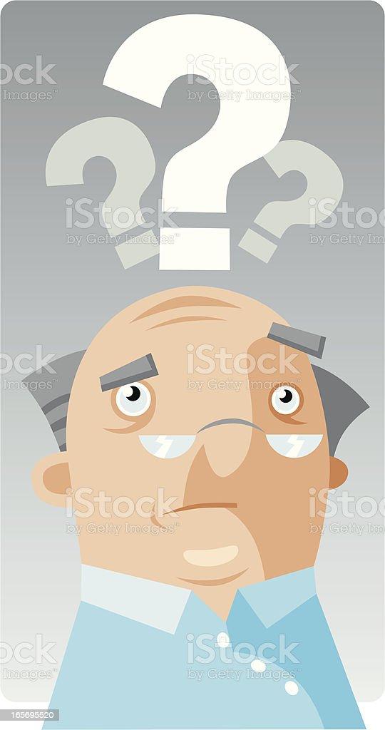 Worried Pensioner royalty-free stock vector art