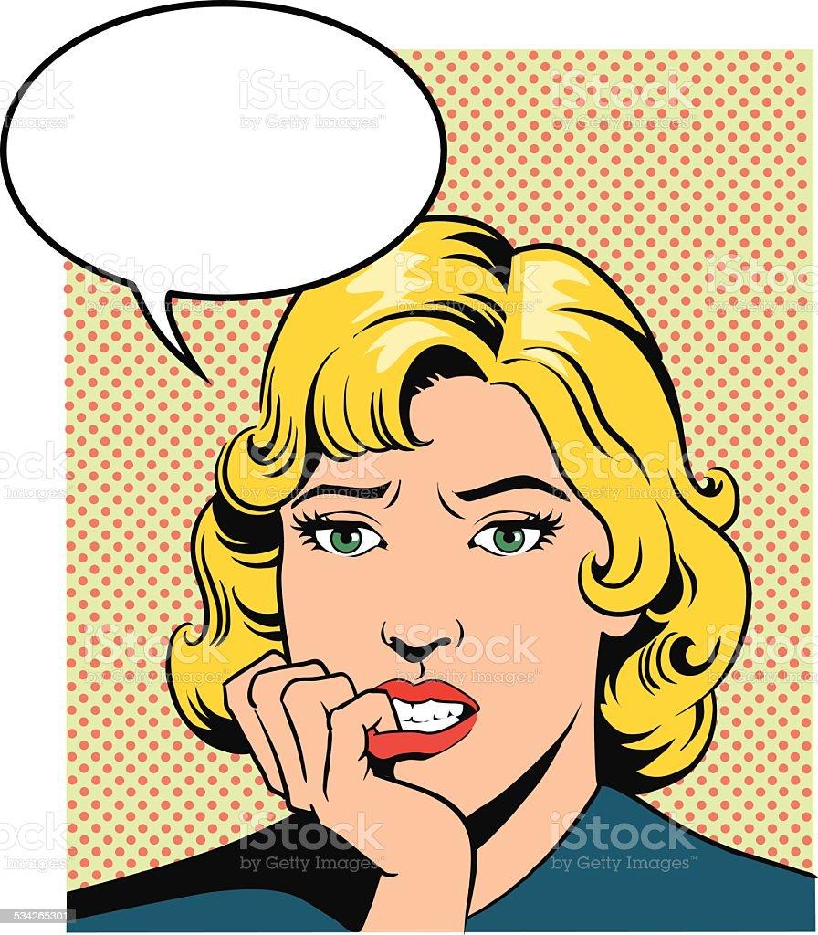 Worried Retro Style Woman vector art illustration