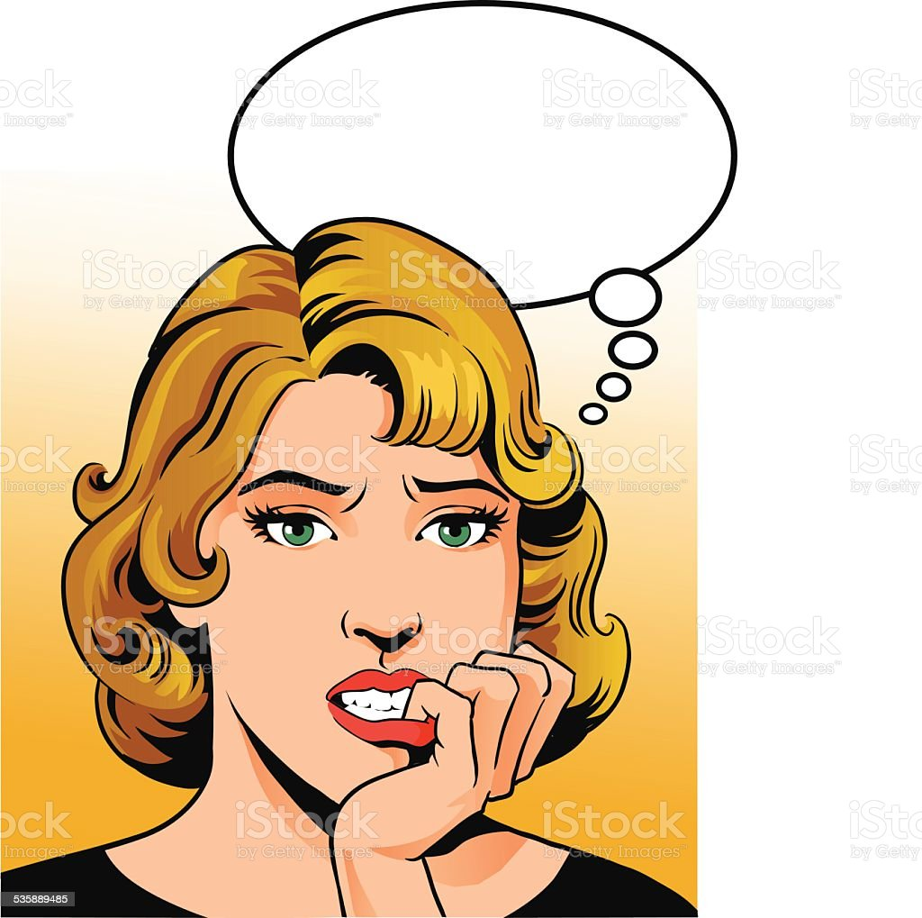 Worried Retro Woman With Speech Balloon vector art illustration
