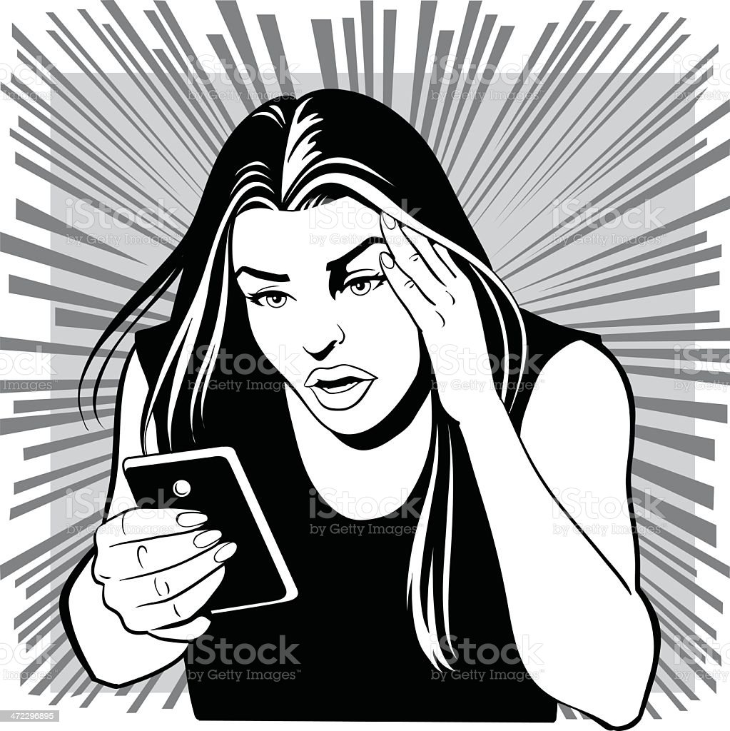Worried Young Woman Receives a Bad News royalty-free stock vector art