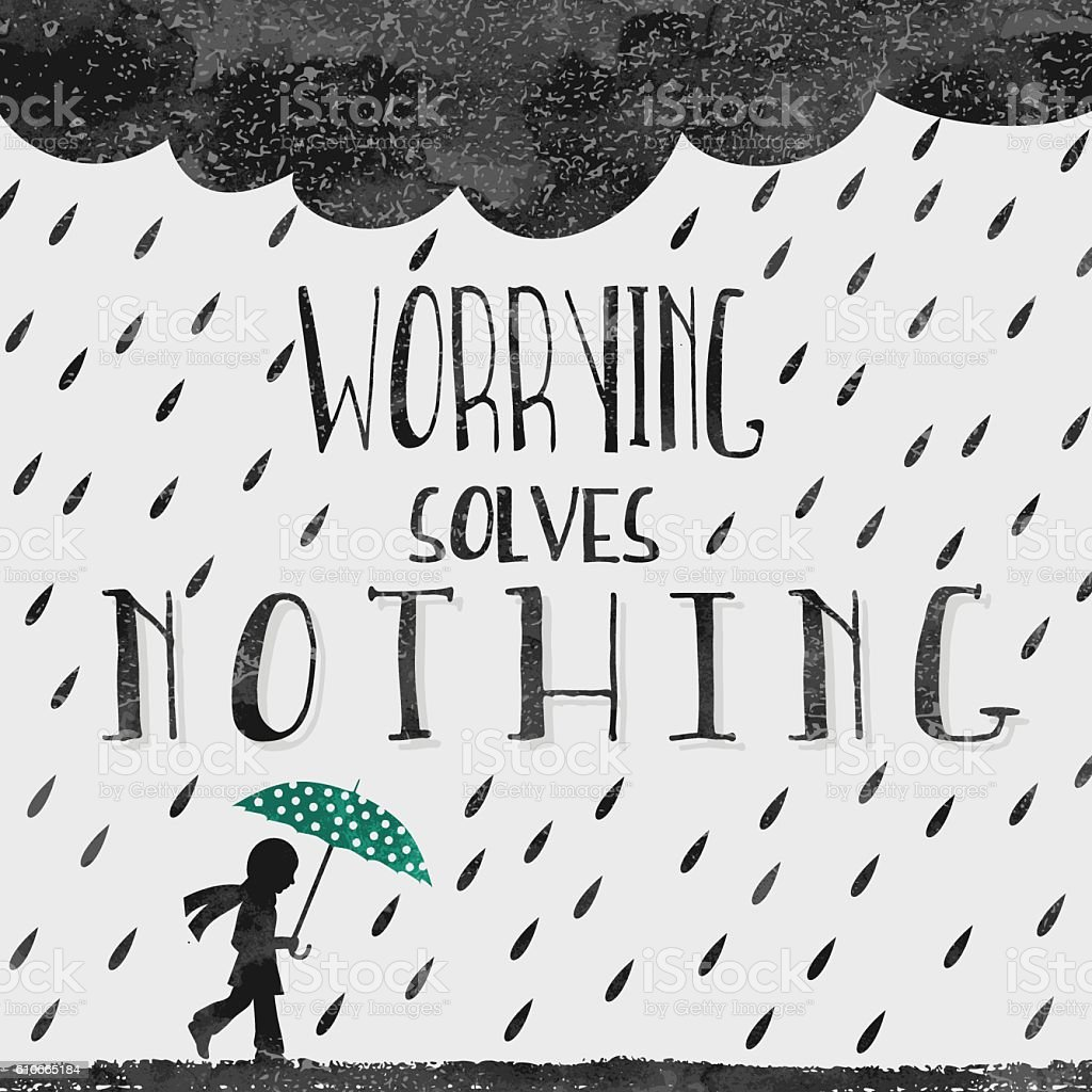 Worrying solves nothing vector art illustration
