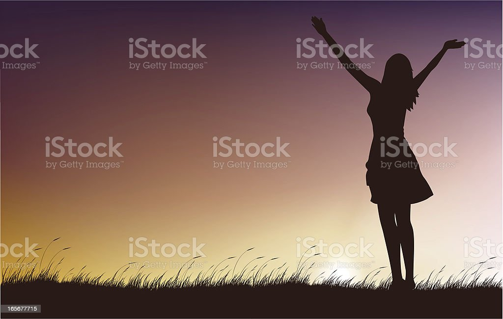 Worship Lady vector art illustration