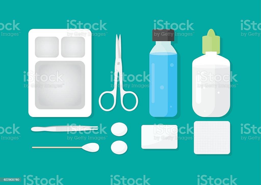 wound dressing equipment flat set vector art illustration