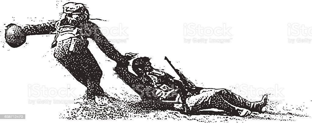 Wounded Combat Soldier Being Rescued vector art illustration