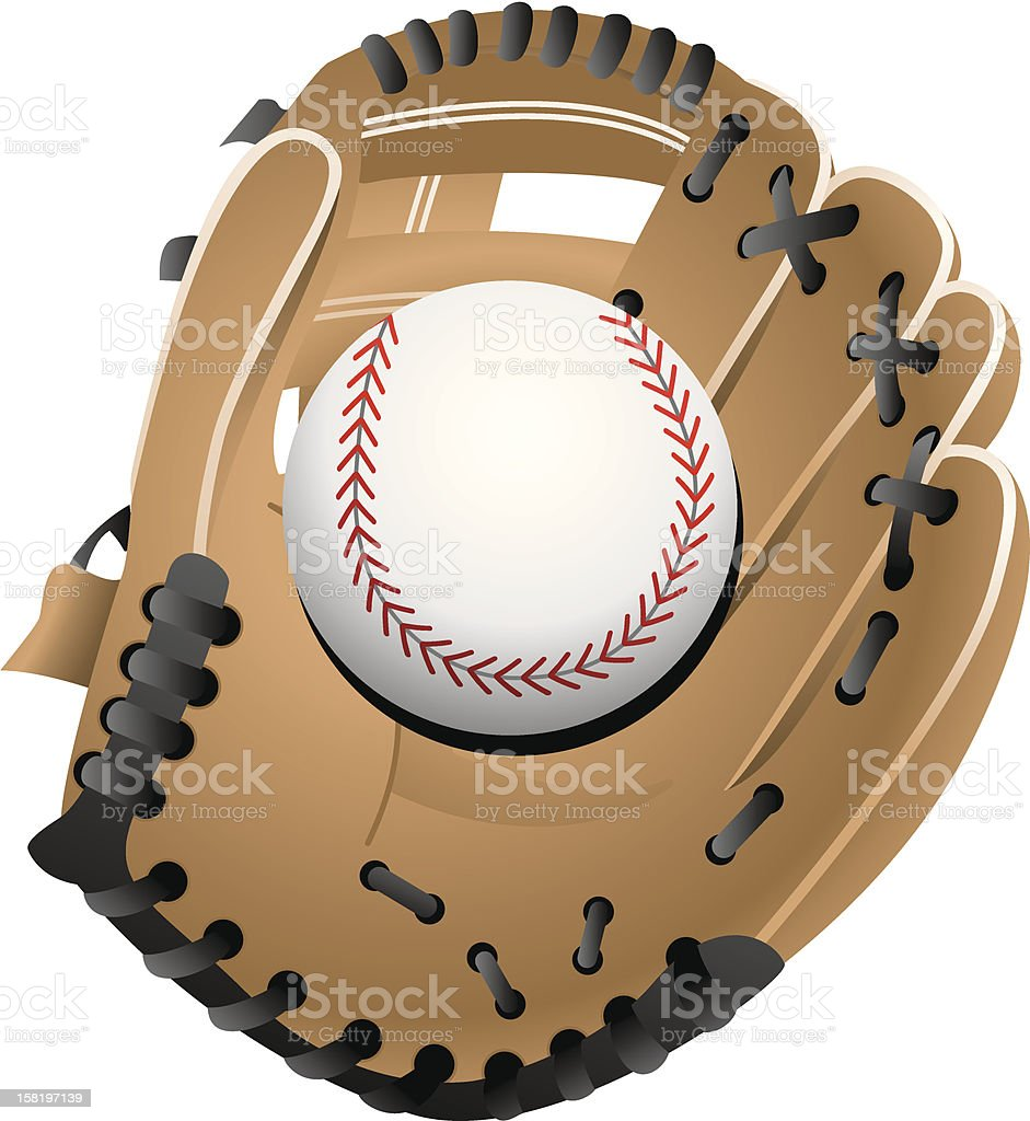 A woven baseball glove holding a baseball on white vector art illustration