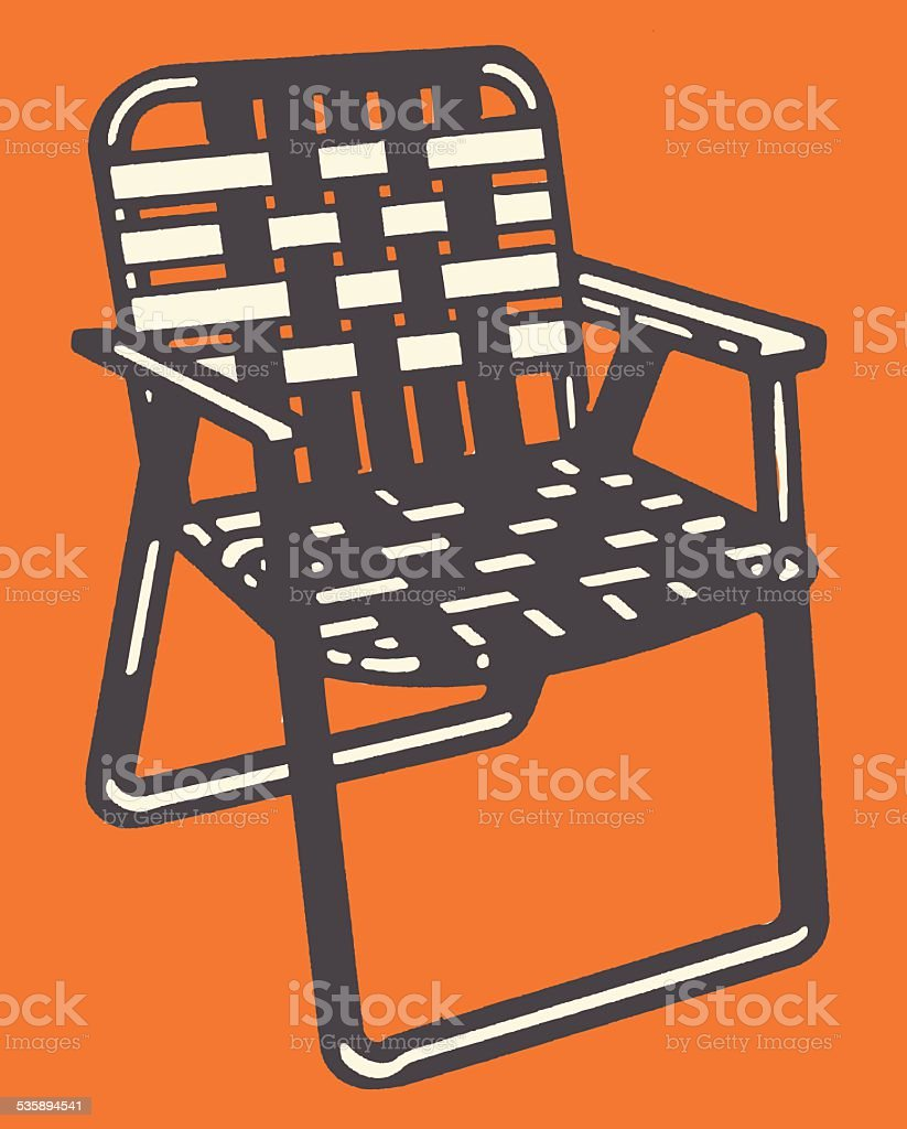 Woven Lawn Chair vector art illustration