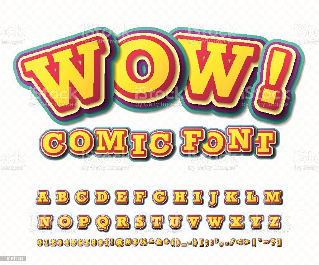 Wow Comic Schriftart Alphabet Im Stil Der Pop Comics Art Vektor ...