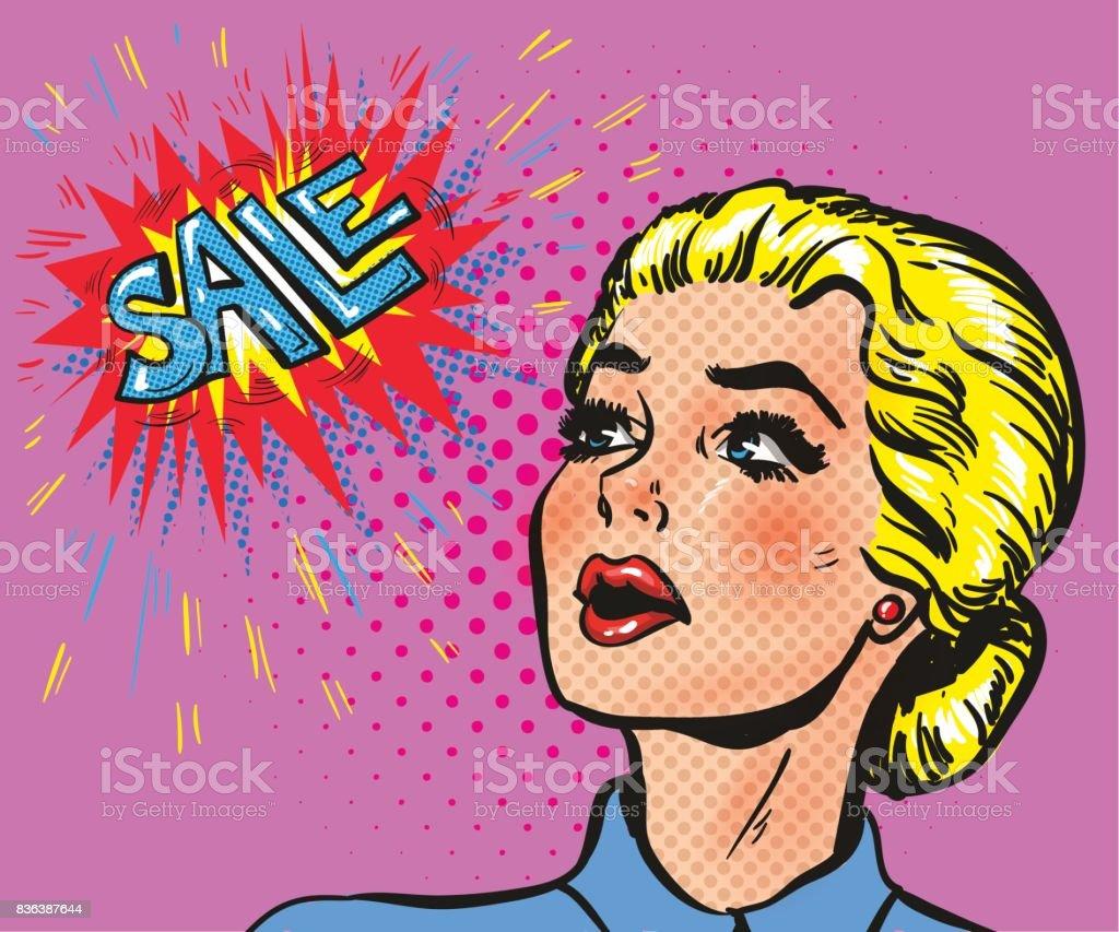 Wow pop art comic female face blond with sale speech bubble vector art illustration