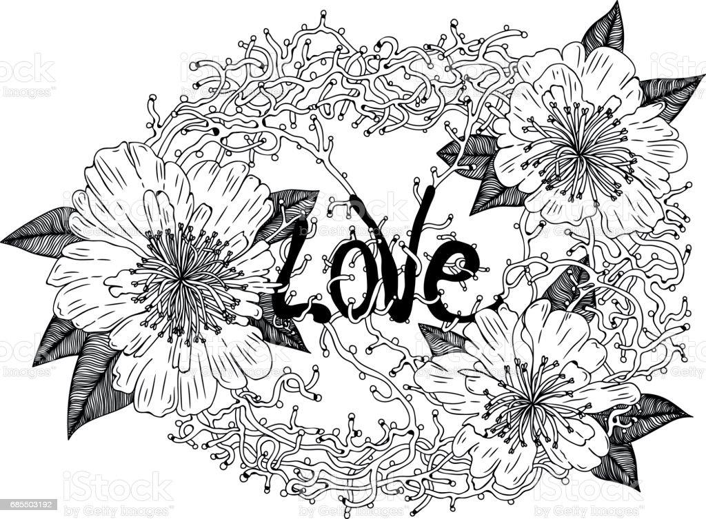 Wreath of love vector art illustration