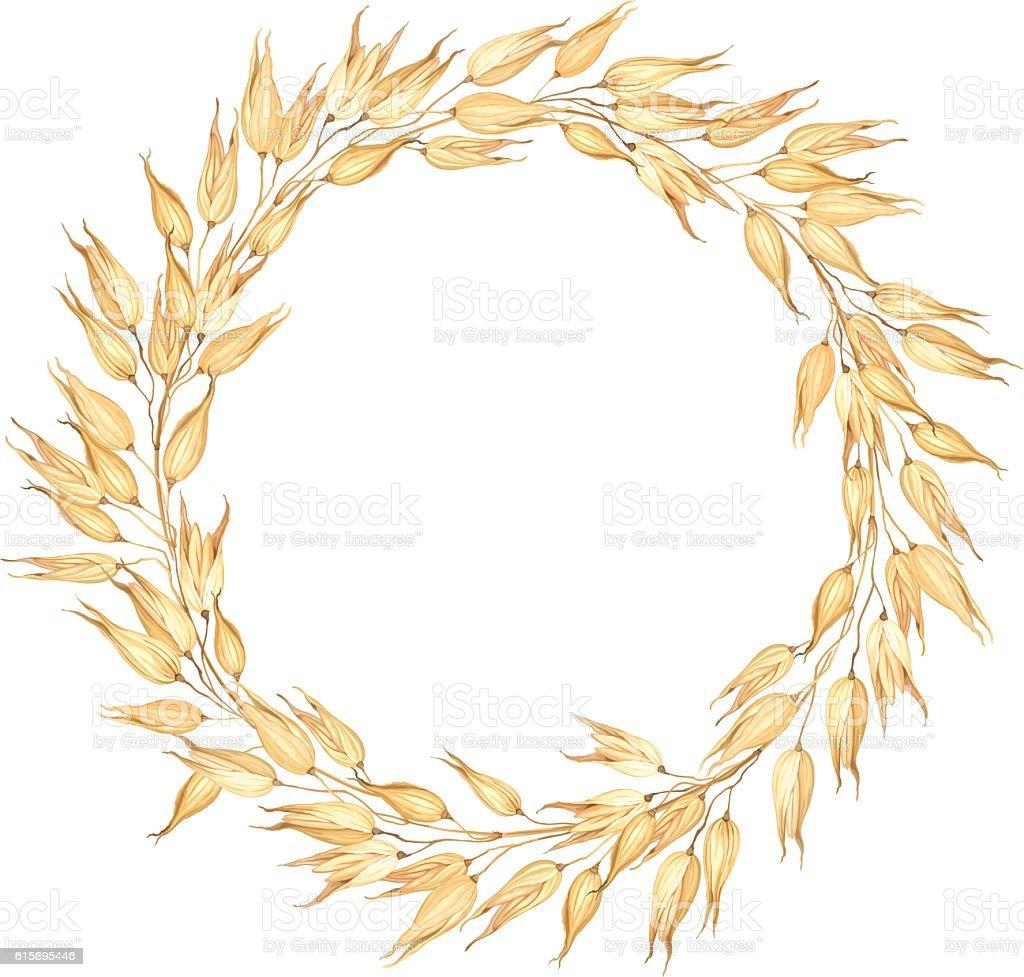 Wreath of Oats, vector illustration. vector art illustration