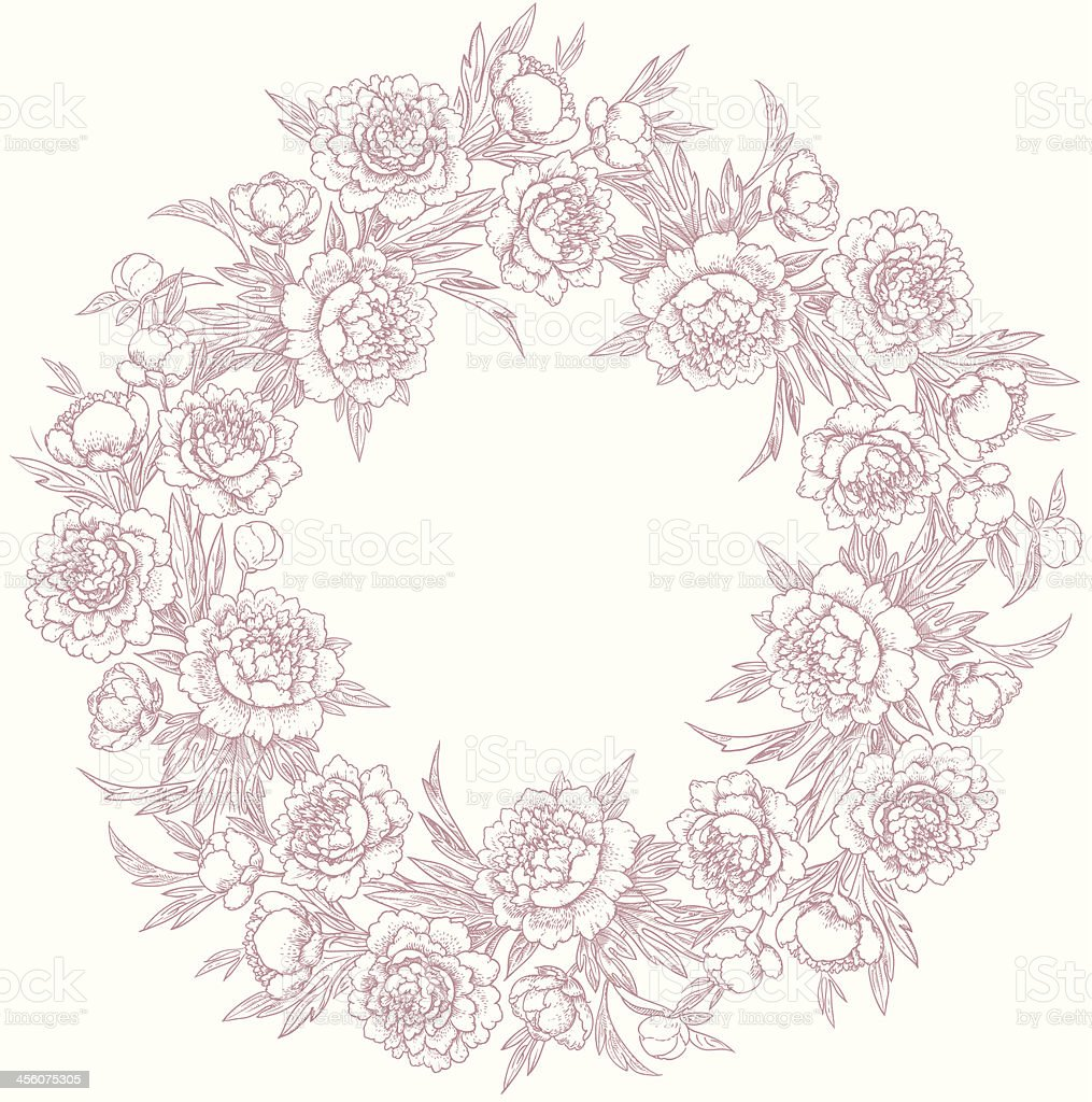 Wreath of peonies. royalty-free stock vector art