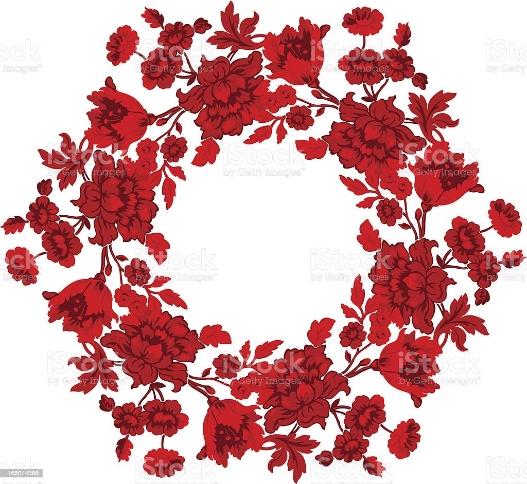 Wreath of Red Flowers royalty-free stock vector art
