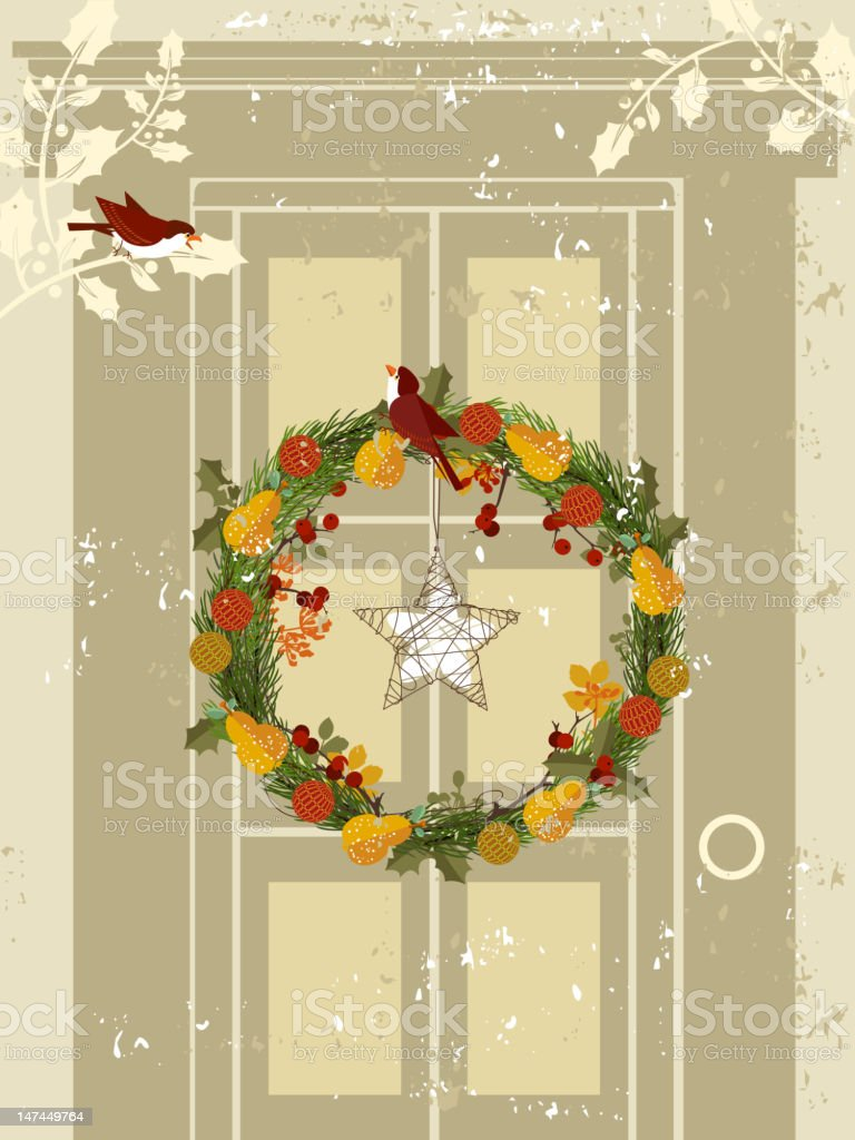 Wreath on Door royalty-free stock vector art