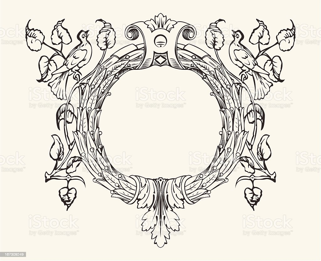 Wreath With A Dove royalty-free stock vector art