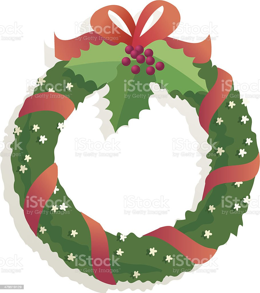 Wreath with holly royalty-free stock vector art