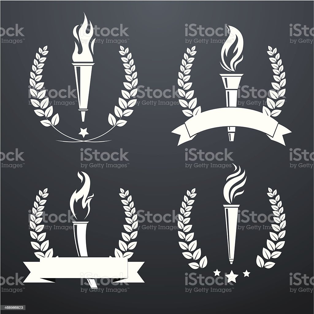 Wreath with torches vector art illustration