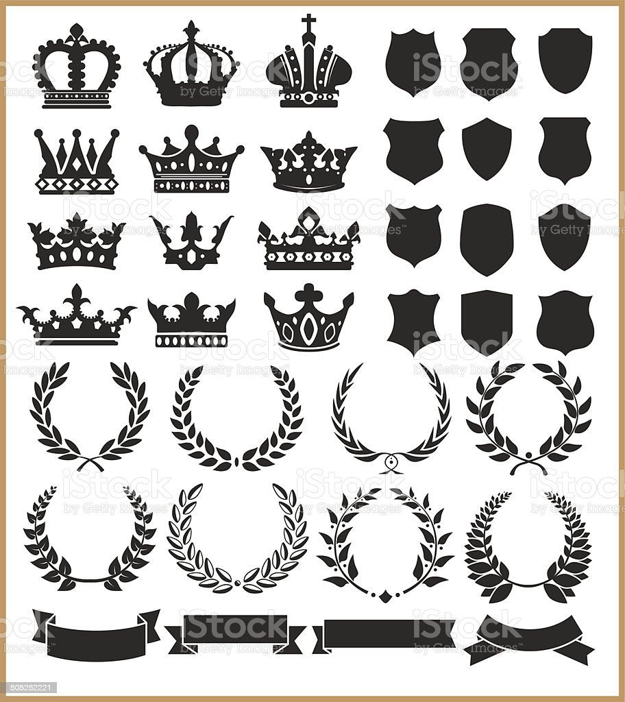 Wreaths and crowns vector art illustration
