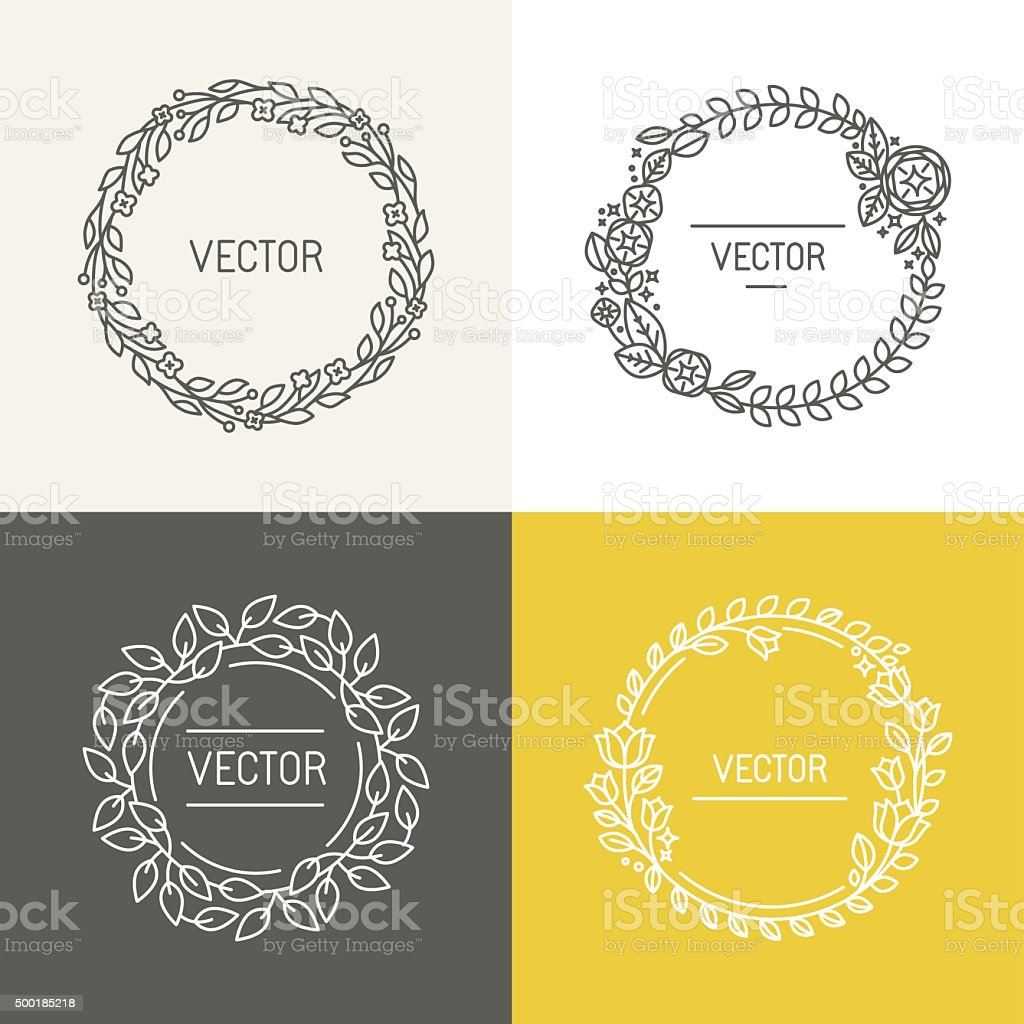 Wreaths and frames vector art illustration