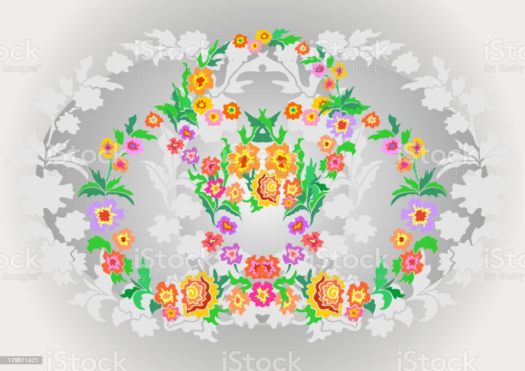Wreaths from abstract flowers on floral background royalty-free stock vector art