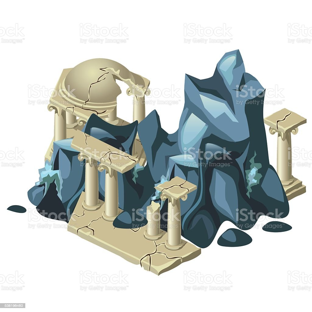 Wreckage of the Greek structure and rock formation vector art illustration