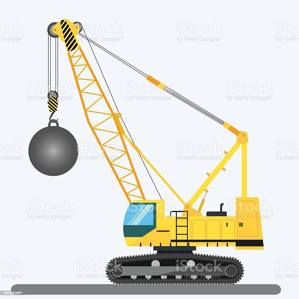 Wrecking ball crane, heavy machinery vector art illustration