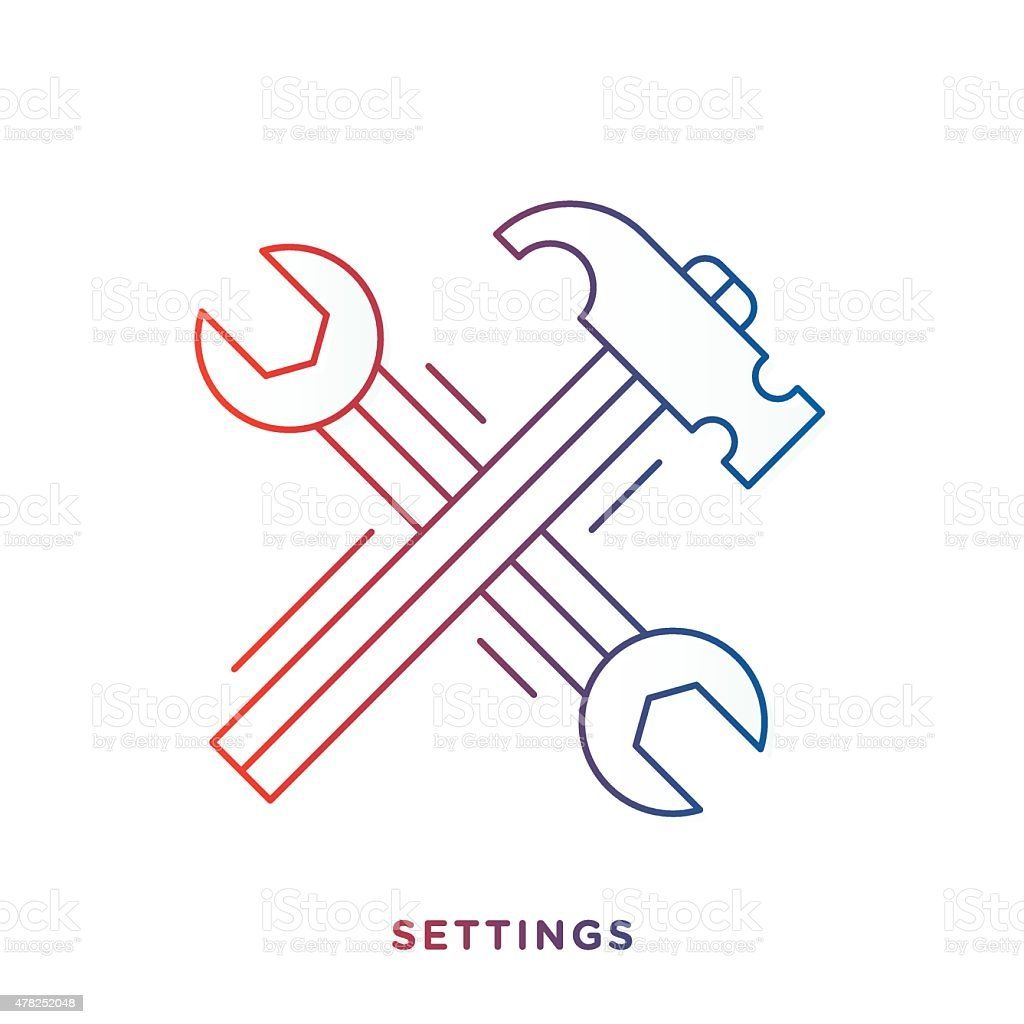 Wrench and Hammer Symbol vector art illustration
