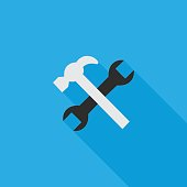 wrench and humer flat icon illustration
