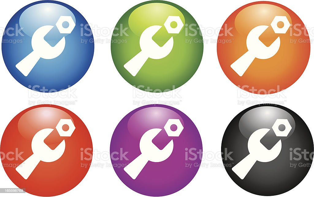 Wrench and Nut Icon royalty-free stock vector art
