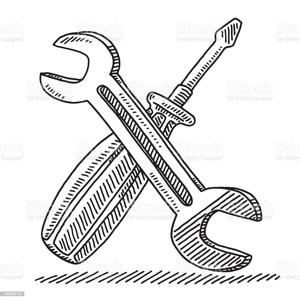 Wrench And Screwdriver Tools Drawing vector art illustration