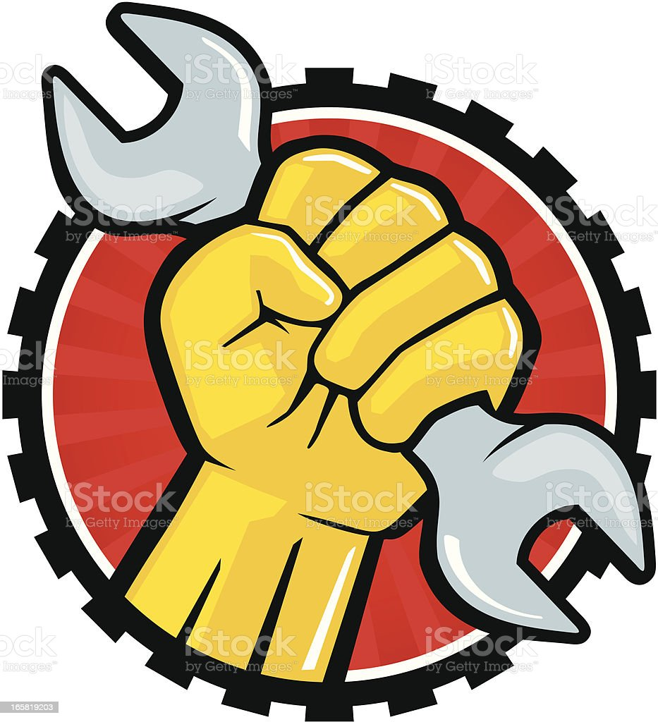Wrench Fist royalty-free stock vector art