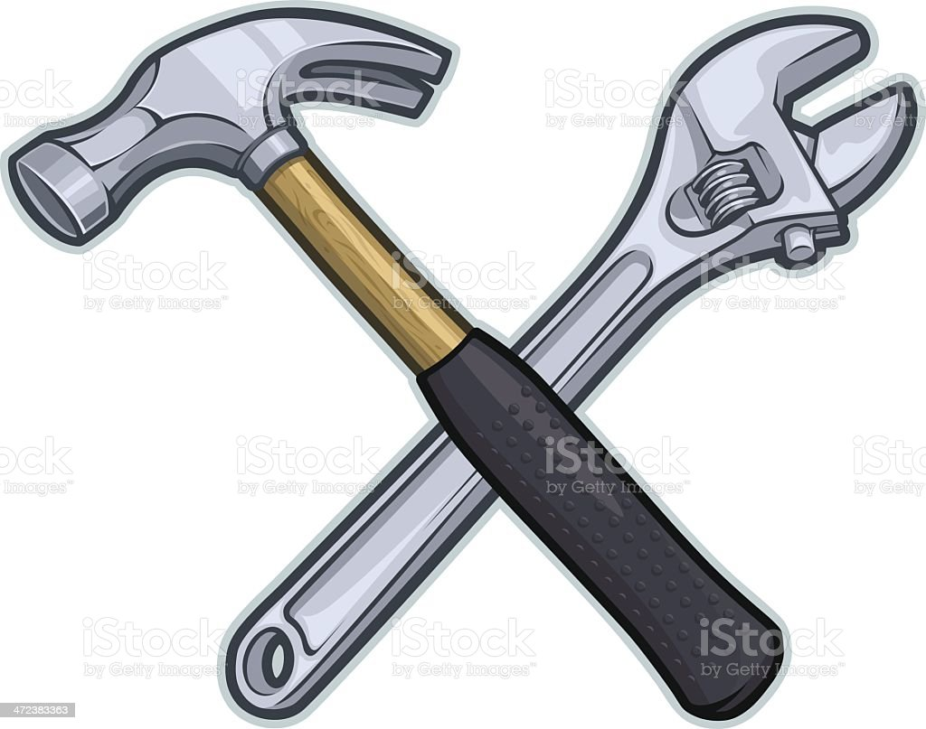 Wrench & Hammer royalty-free stock vector art