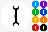 Wrench Icon on Flat Color Circle Buttons