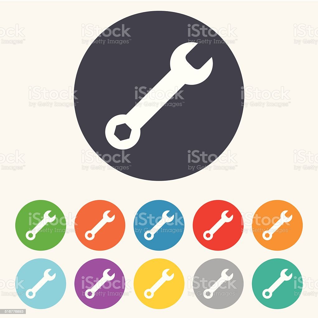 Wrench key sign icon. Service tool symbol. vector art illustration