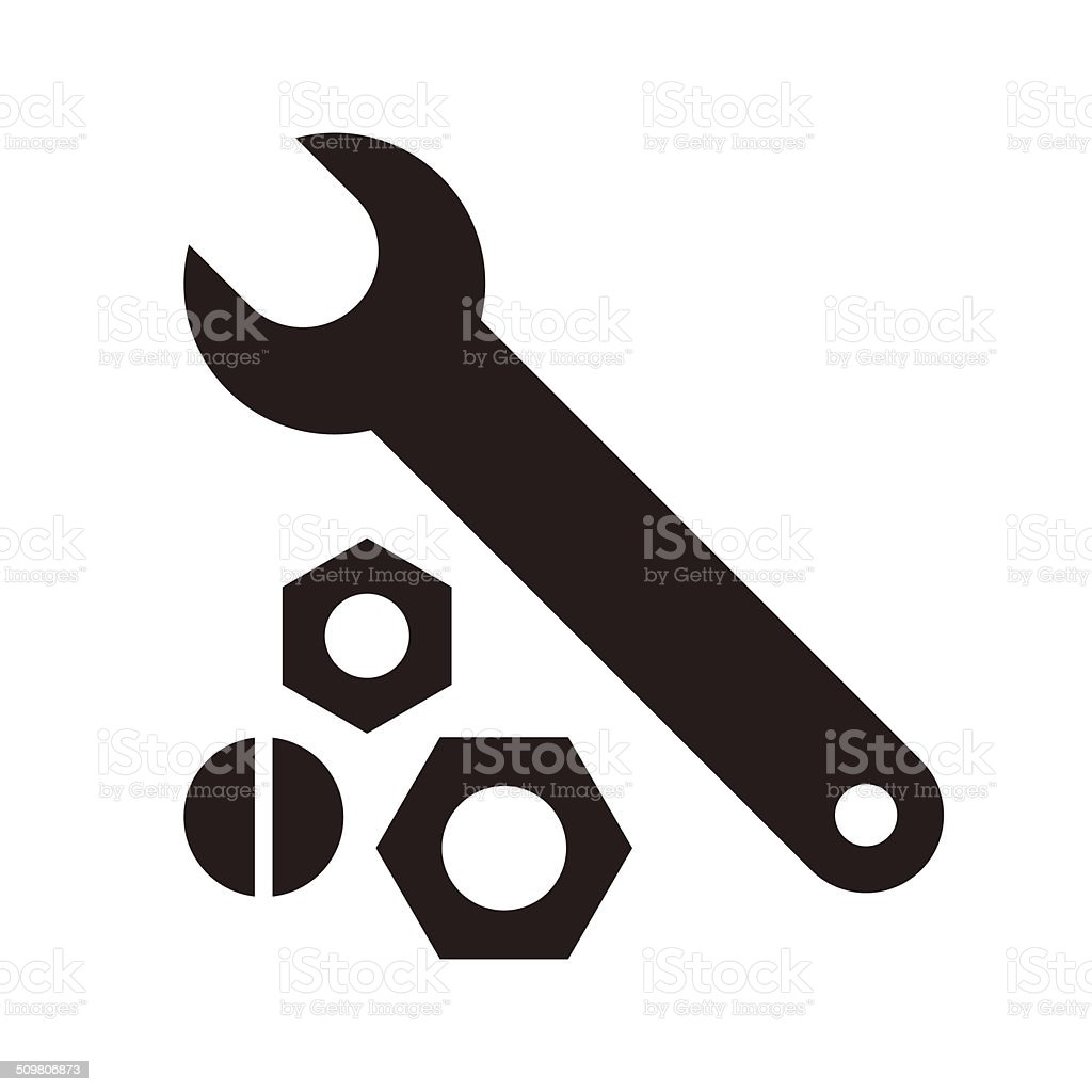 Wrench, nuts and bolt icon vector art illustration
