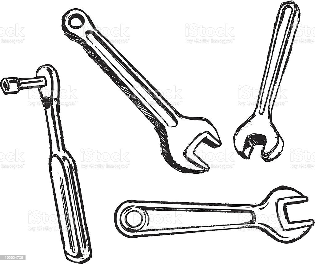 Wrench Tool Equipment Sketches royalty-free stock vector art