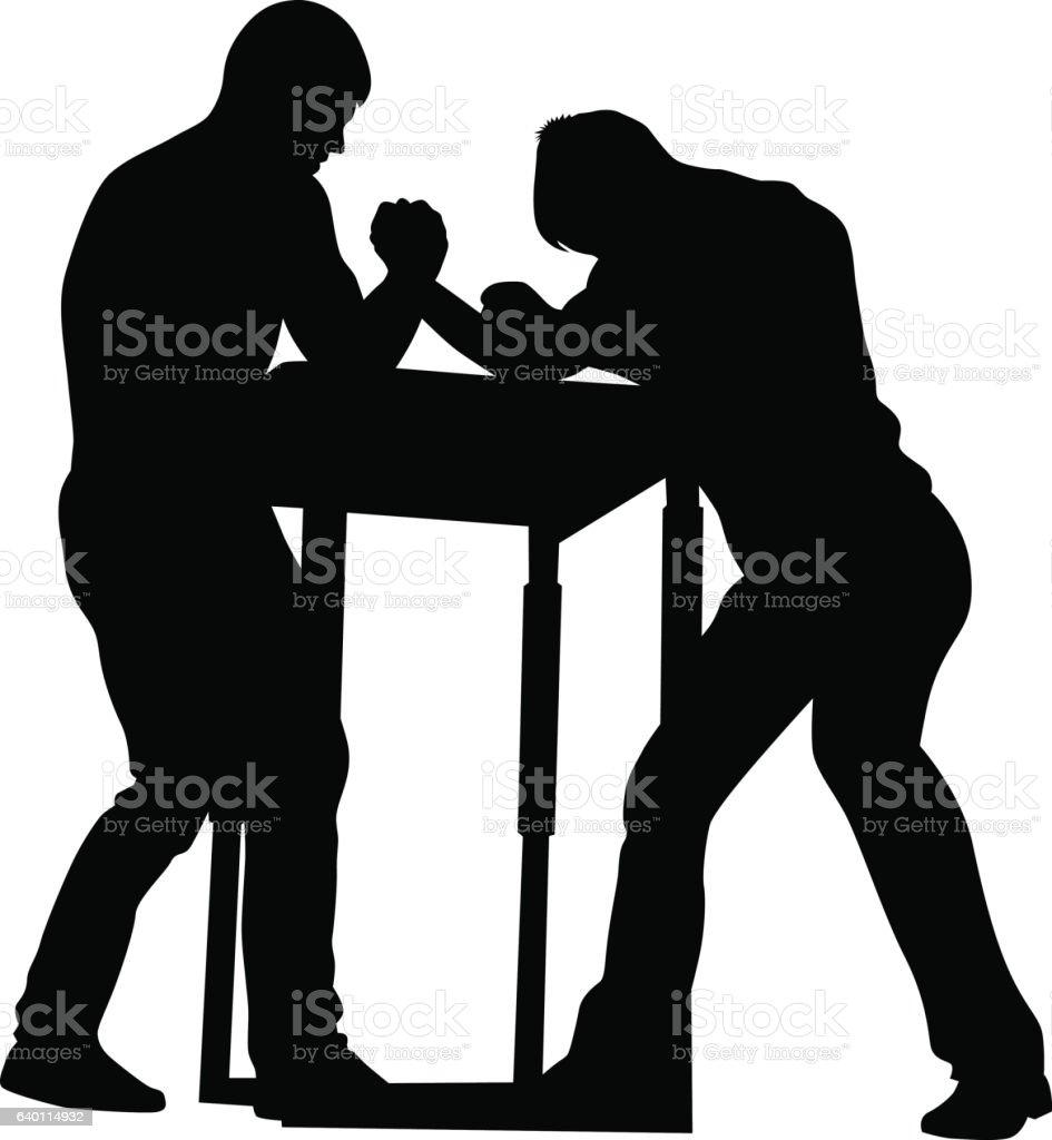 Wrestler on white vector art illustration