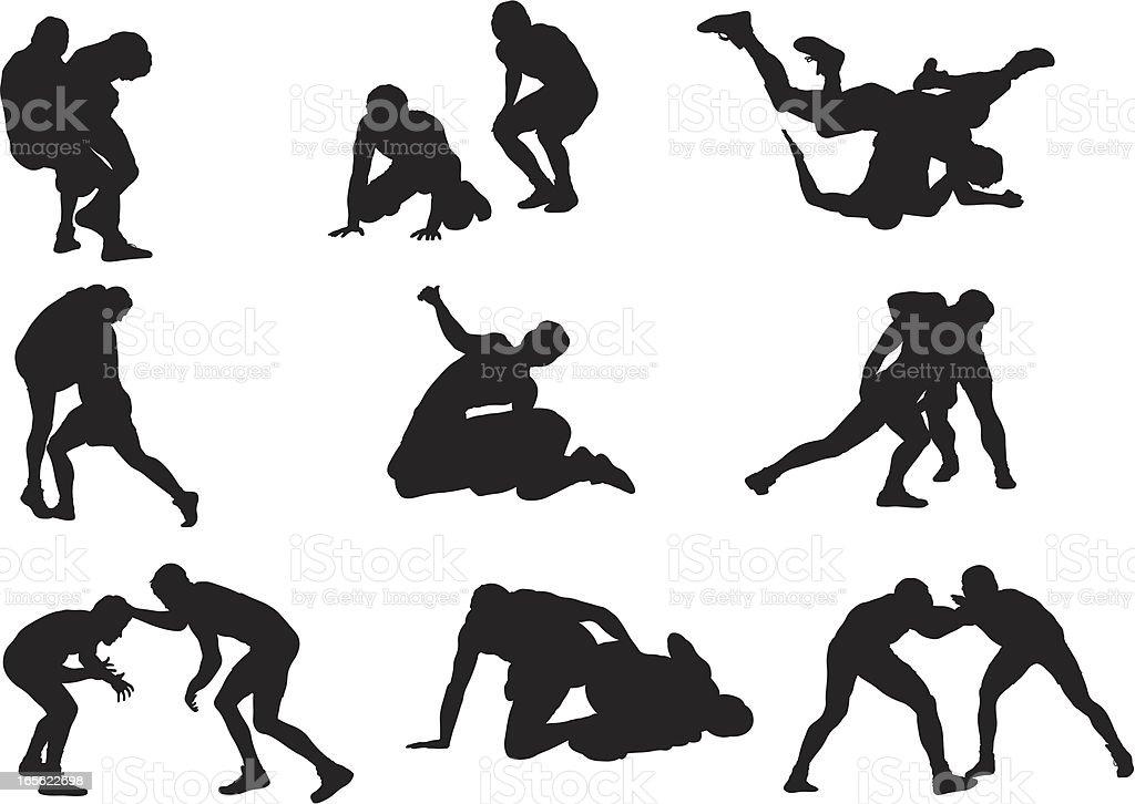 Wrestler Silhouettes royalty-free stock vector art
