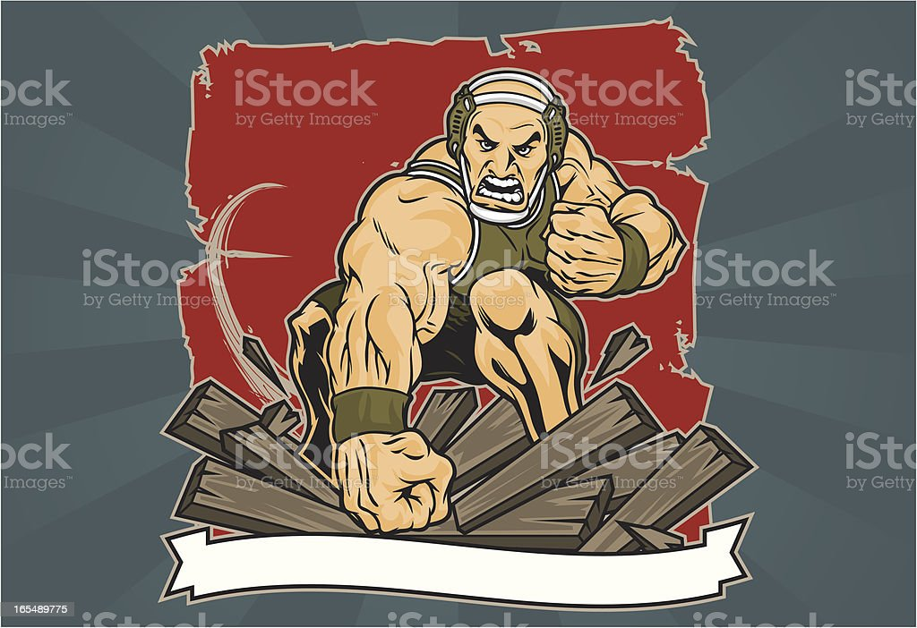 Wrestler Smash vector art illustration
