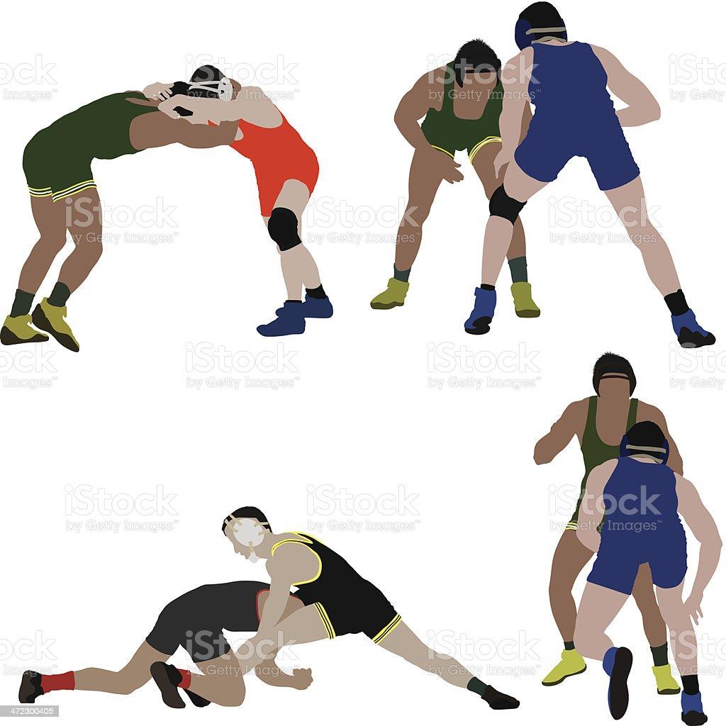 Wrestlers in action vector art illustration