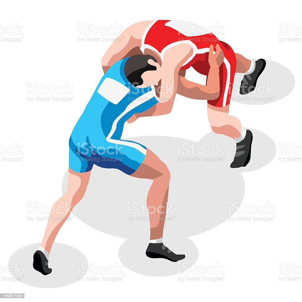 Wrestling Fight Sports 3D Isometric Vector Illustration vector art illustration