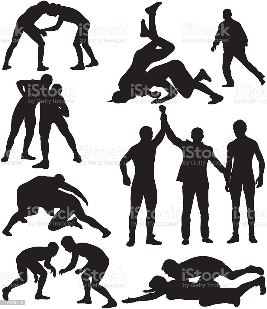 wrestling silhouettes royalty-free stock vector art