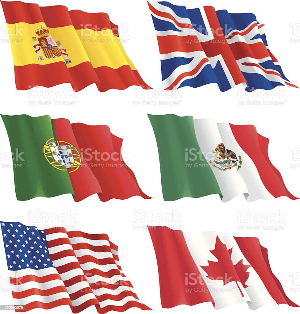 Wrinkled flags of the world over a white background vector art illustration