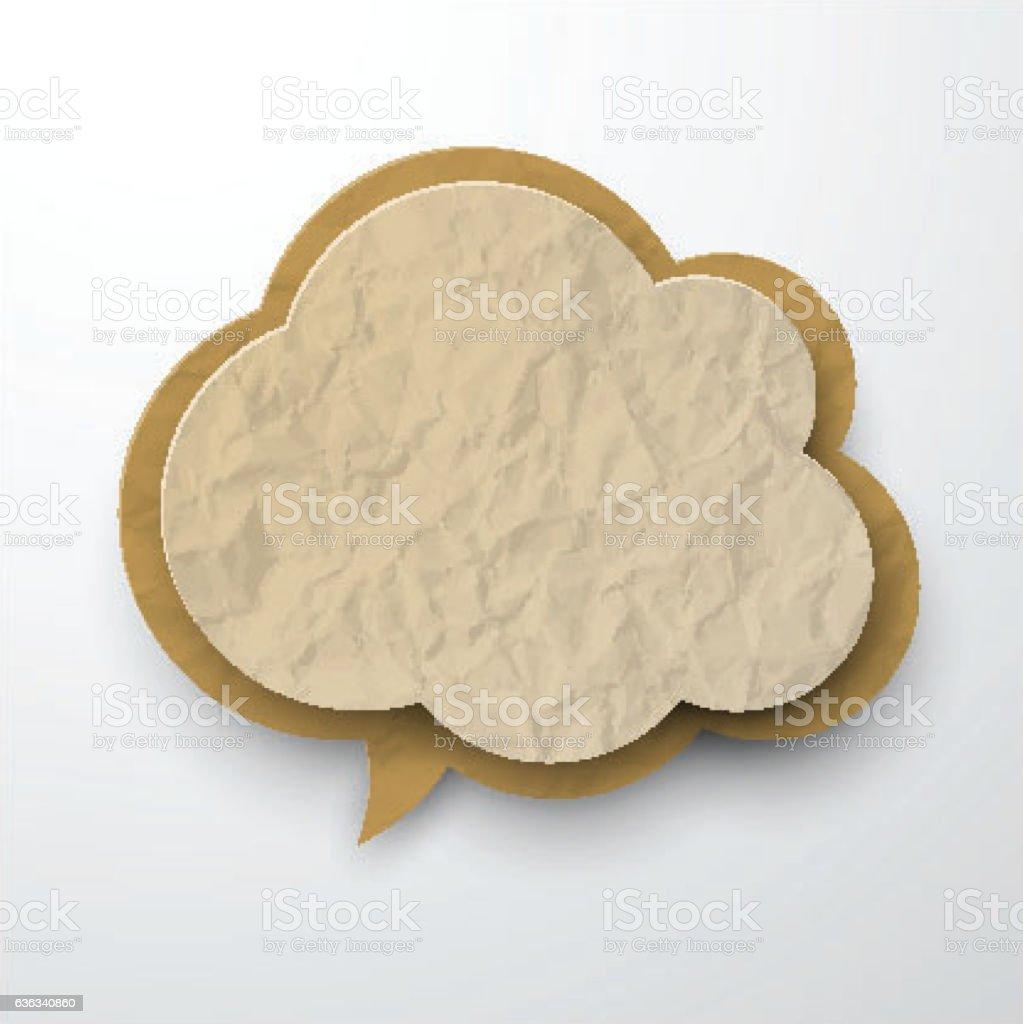 Wrinkled old paper cloud. vector art illustration