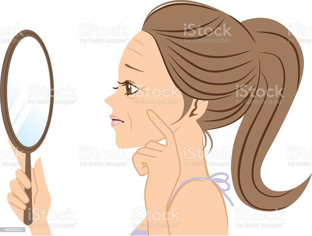 Wrinkled woman vector art illustration