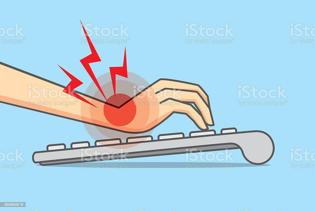 Wrist pain from use keyboard vector art illustration