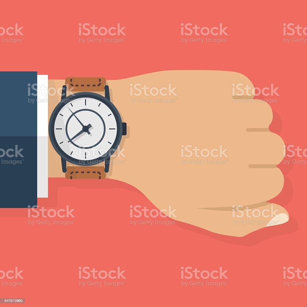 Wristwatch on hand of businessman vector art illustration