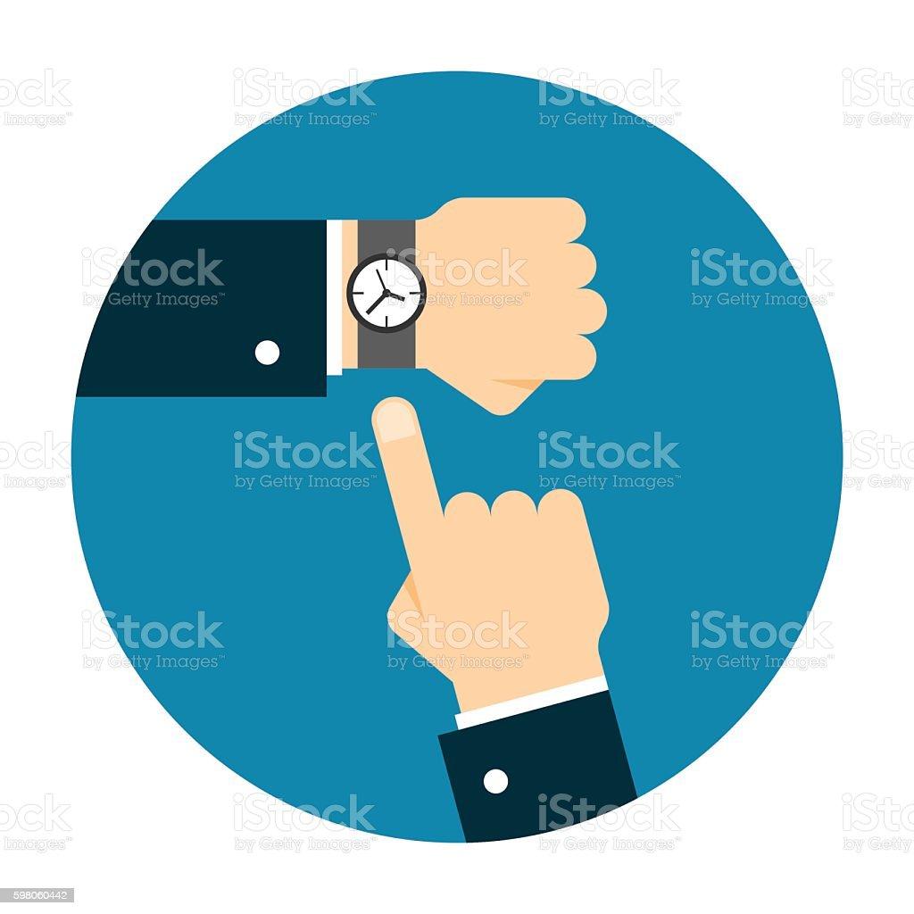 Wristwatch on the hand vector art illustration