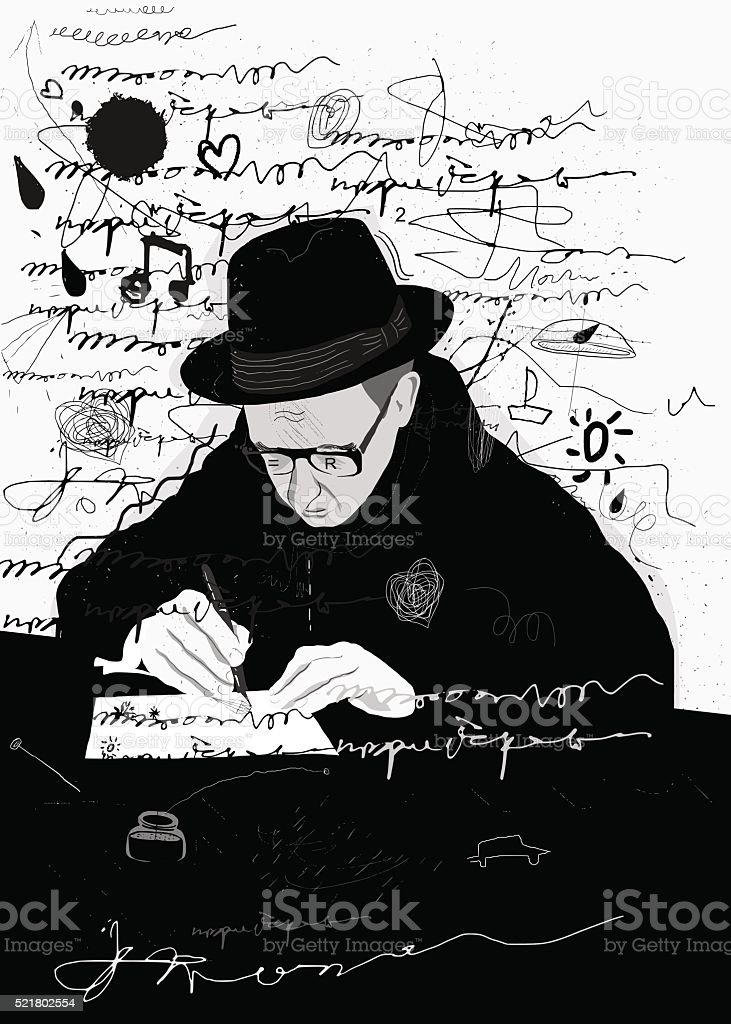 Writer vector art illustration