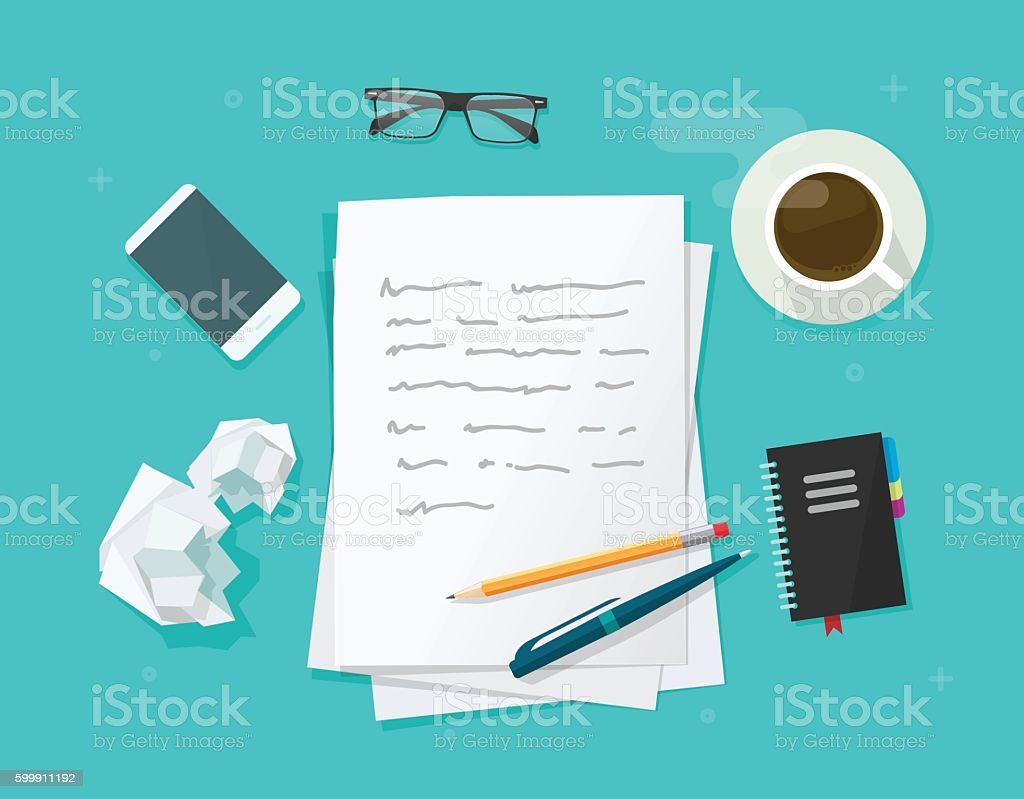 Writer workplace vector, flat cartoon paper sheets on working table vector art illustration